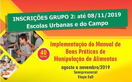 Capacitação anual de manipuladores de alimentos da alimentação escolar municipal - Grupo: 2
